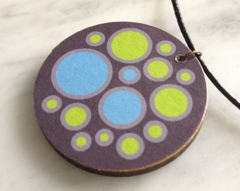 SALE 25% OFF - Round wooden pendant, leather cord, pastel green & sky blue circles on chocolate background, decoupage - style 27
