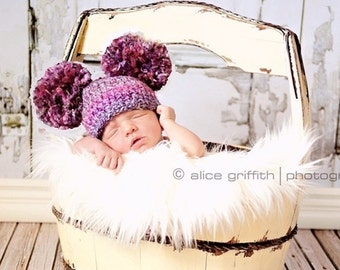 Crocheted Double Pom Pom Beanie, Double Pom Pom Baby Hat, Choose Any Color, Newborn Photography Prop