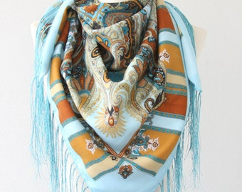 Russian scarf light blue mustard russian shawl bohemian scarf fringe shawl ukrainian shawl soviet scarf winter accessories christmas gift