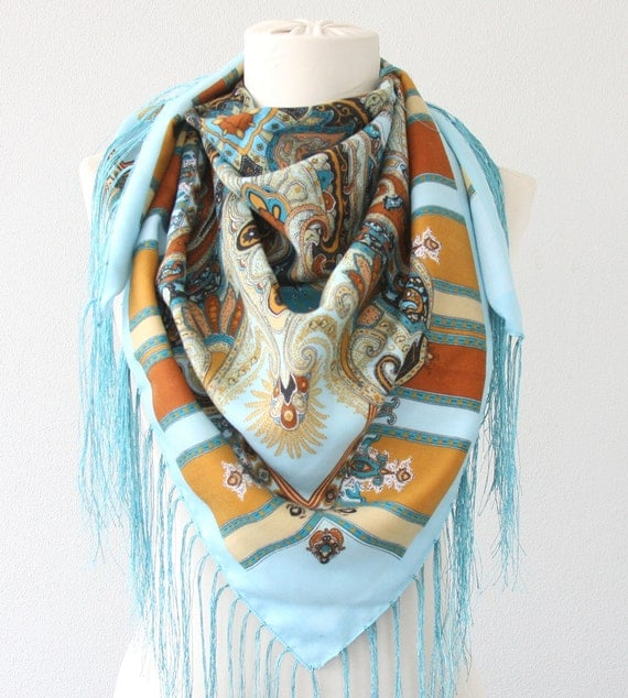 Russian scarf light blue mustard russian shawl bohemian scarf fringe shawl ukrainian shawl soviet scarf winter accessories christmas gift