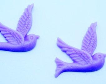 2PCS Purple Resin Bird Cabochons 26x28mm  Jewelry Findings by ZARDENIA