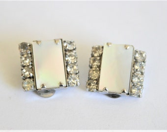 Vintage mother of pearl and crystal earrings.  Clip on earrings.