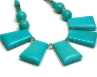 Turquoise Statement Necklace, Collar Bib, Chunky Necklace with Turquoise, Turquoise Jewelry, Necklace Set, Turquoise Dangle Earrings, Boho