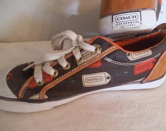 Vintage COACH Tennis Shoes ~ Canvas and leather Sneakers Women's 7