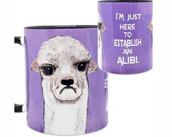 Grumpy Alibi Llama Black Mug