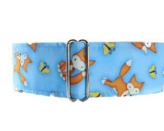 2 Inch Martingale Collar, Fox Martingale Collar, Fox Dog Collar, Blue Dog Collar, Greyhound Collar, Martingale Dog Collar