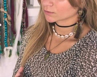 SALE Tassel EARRINGS, gypsy earrings, textile earrings,hippy earrings,tribal earrings, festival earrings,green earrings, chunky earrings,Zas