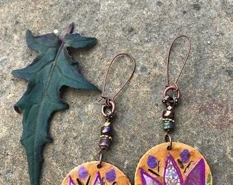 SALE Lotus EARRINGS, reversible earrings ,folk earrings, zen earrings, wood earrings, hoop earrings, hippy earrings,  mandala  earrings Zasr