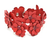 Leather cuff leather bracelet red flower bracelet wedding jewelry with crystal centers third anniversary Valentine's day Mother's day gift