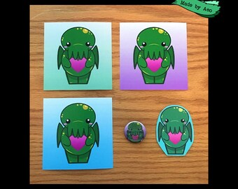 """Chibi C'thulhu Bundle (Button+Sticker+ 3 mini Prints 4""""x4"""")"""