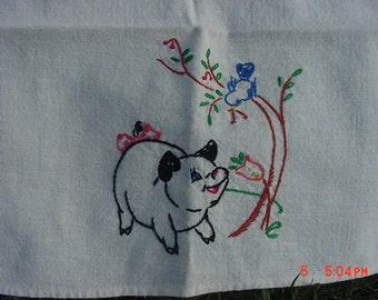 Vintage Hand Embroidered Pig Or Hog Dish Cloth  17 - 439