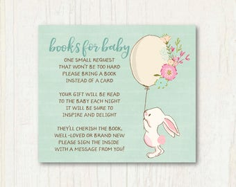 Mint Bunny Books for Baby Insert, Please bring a book, Woodland Baby Shower, Instant download, Baby shower insert  0704mint