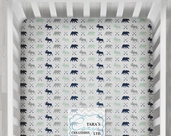 MINKY Moose Bear Crib Sheet- Designer Crib Sheet - Bear Minky Crib Sheet  - Change Pad Cover-  Bear Sheet- Moose Crib Bedding- Bear Bedding