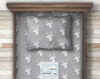 Minky Twin Sheet -  Deer Minky Twin Sheet - Minky Twin FItted Sheet- Full Size Sheet - Twin Size Bedding - Woodland Bedding-