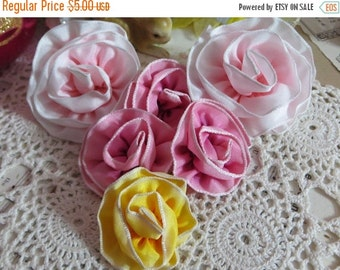 ON SALE Handmade Cabbage Roses from French Ombre Ribbon-Silk Ribbon Embroidery-Set of 6