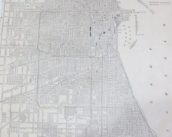 Store Closing SALE 1891 Chicago Original Atlas Map-Art-122 years Old-City Street View