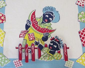 Vintage Tablecloth Kitchen Tea Towel-Black Americana-RARE AQUA-EUC