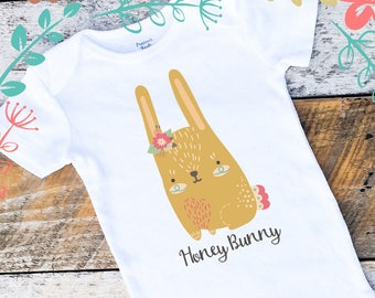 Baby Girl Onesies®, Easter Bunny Girl Onesie, Honey Bunny Onesie, Spring Onesie, Easter Onesie, Bunny Baby Girl Clothing, Onesies for Girls