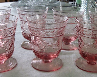 7 Vintage Decorative Pink Pressed Glass Footed Tumblers 8 Ounces