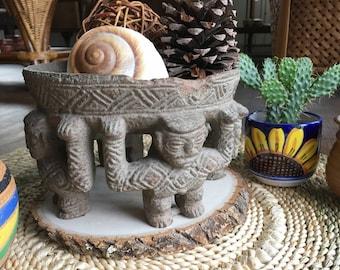 Mayan circle of friends pottery bowl, Decorative Mexican Folk Art pottery dish