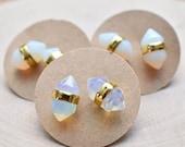 20% Off Christmas Sale Opalite Double Terminated Gold Stud Earrings/ White Blue Simple Delicate Gemstone Stud Post Earrings/ Minimal Simple