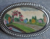 Beautiful Antique - Hand painted on Silk - English Garden - Brooch - c1930s