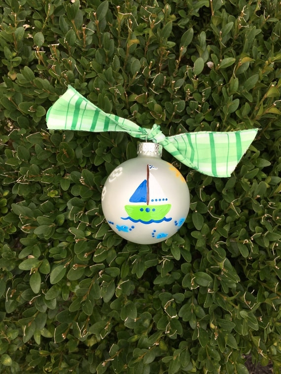 Sailboat Ornament, Hand Painted Personalized - Blue and Green Boat Christmas Bauble, Sailboat Nursery, Sailboat Nursery, Fathers Day Gift
