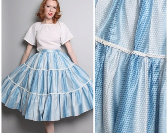 Vintage Square Dancing Skirt / 1950's Style Circle Skirt / 50's Blue Fit and Flare / Medium