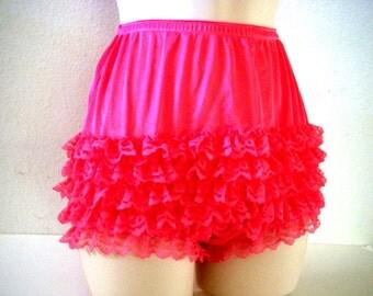 Vintage Hot Pink Rumba Panties - Ruffled High Waisted Rhumba Panty - Pink Lace Panties - Hot Pink Bombshell Pin Up Panties - Size Medium 10