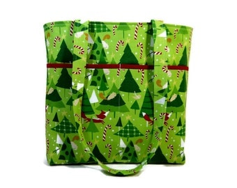 Winter Tote Bag, Christmas Purse, Foxes Candy Canes Trees Bag, Double Strap Bag, Fabric Shoulder Bag, Green Purse, Zipper Pouch, Trees Tote