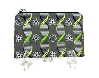 Gray Zipper Pouch, Geek Pouch, Double Helix Cosmetic Bag, Makeup Bag Pouch, Science Print Pencil Pouch, Geek Print Zip Bag, Cotton Zip Bag