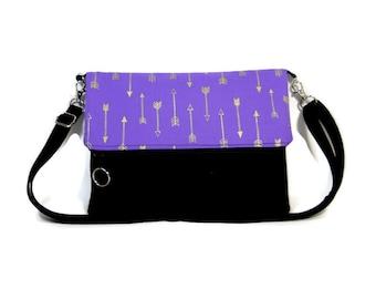 Purple Arrow Foldover Bag, Crossbody Bag, Zipper Foldover Purse,  Cross Body Bag, Adjustable Strap, Removable Strap, Zipper Clutch
