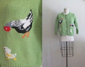vintage 1970s/80s novelty cardigan - CHICKEN FARM green cowichan sweater / XS