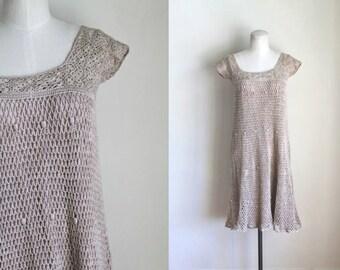 vintage 1970s crochet dress - SAND cotton open knit boho dress / xxs-xs