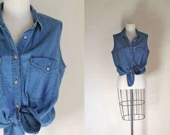 vintage 1990s denim shirt - AT LAST blue denim & cotton blouse / M-L