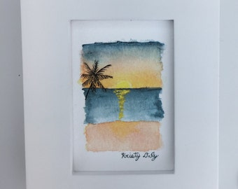 "Sunset Watercolor - Giclee Print with Frame - 4"" x 5"""