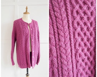 Vintage raspberry red hand knitted cardigan