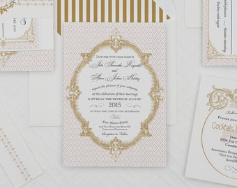 Vintage French Baroque Wedding Invitation Sample ,Wedding Invitations,Fleur  De Lis Wedding Invitations,
