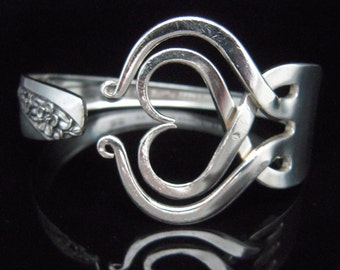 Recycled Silverware Jewelry Silver Fork Bracelet in Original Heart Design Number Three