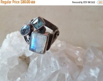 SALE Sterling Moonstone, Topaz Artisan Ring, Modern Ring