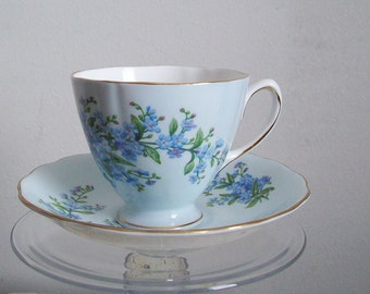 Vintage bone china teacup Colclough powder blue and forget me nots gold trim excellent condition