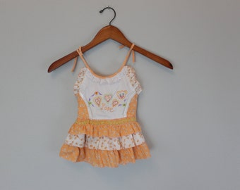 Vintage Orange Girls spaghetti strap Dress with A to Z Love embroidered