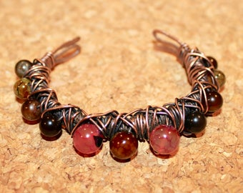 One of a kind Wire Wrapped Copper Bracelet/ Agate Bracelet/ Feng Shui Bracelet/ Chakra Bracelet
