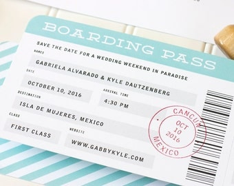 Boarding Pass Save the Date, Destination Wedding Save the Date, Airplane Ticket Save the Date, Beach Wedding Invite - Flat Printing - SAMPLE
