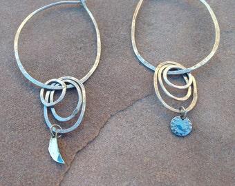 Sun and moon celestial orbit hoop mismatched earrings