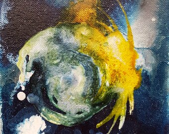 Last Lost - mixed media painting, abstract, mixie, by Shelli Finch of StressArt