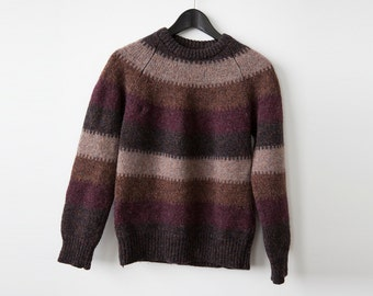 Vintage WOOL Sweater Brown and Eggland Stripe Warm Winter Knit Knitted Cabin Rustic S-M