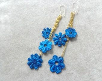 Royal blue dangle earrings, lace earrings, gold blue earrings, flower earrings, long earrings