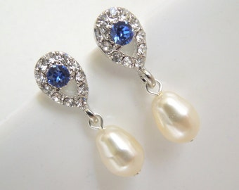 Pearl Earrings Bridal Rhinestone Earrings Something Blue Earrings Crystal Bridal Earrings Bridal Stud Earrings Teardrop Earrings Pearl DANAY