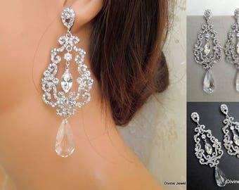 Bridal Earrings Swarovski earrings Chandelier Earrings Long Rhinestone Earrings Wedding Crystal Earrings Statement Bridal Earrings PENELOPE